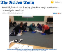 2018-04-22_The Nelson Daily_New CPR, Defibrillator Training gives Kootenay Lake students knowledge to save lives _ The Nelson Daily
